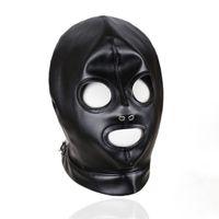 máscara de couro falso venda por atacado-Preto Faux Leather Voltar Lace Up Capa Fetish Olhos Abertos e Boca Aberta Gótico Gap Escravo Role Play Maskrade Máscara Cabeça Traje