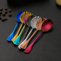 Wholesale unique ice - New Arrival Unique Shell Spoons Stainless Steel Spoon Upscale Restaurant Dessert Spoon Ice Cream Scoops Kitchen Accessories