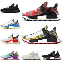 Wholesale mens trail running shoes - New arrival human race Hu trail x pharrell williams men running shoes Solar Pack Afro Holi Blank Canvas mens trainers women sports sneaker