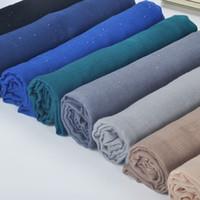 brilho xale muçulmano venda por atacado-1 pcs Simples hijabs para as mulheres viscose xale sólido Glitter lenço de Ouro muçulmano envoltório cabeça elegante lenços elegantes plus size cachecol
