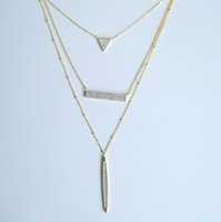 925 стерлингов стерлингов оптовых-High quality 2017  fine 925 sterling silver bling sparking bar triangle pendant women three layer sexy jewelry necklace