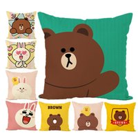 Wholesale brown bear pillow for sale - Group buy New Pillow Cover Hot Cartoon Brown Bear Mimi Rabbit Digital Printing Hugging pillowcase Sofa Cushion Cover Cotton and Linen Pillow Case