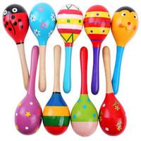 Wholesale wooden maracas toy - Wholesale- Colorful Mini Wooden Maracas Child Maracas madera Party Musical Instrument Baby Rattle Shaker Children Gift Toy Sand Hammer 1PC