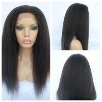 bakire kinky düz dantel peruk toptan satış-İtalyan Yaki peruk Afro-Amerikan Tam Dantel İnsan Saç Peruk En Iyi Tutkalsız Brezilyalı Bakire Saç Peruk Kinky Düz Dantel Ön Peruk