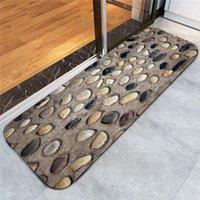 alfombra de baño de guijarros al por mayor-40x60cm 3D Guijarros Alfombra de puerta Coral Fleece Alfombra de piso Alfombras de cocina antideslizantes Alfombras de baño absorbentes Alfombras de sala de estar