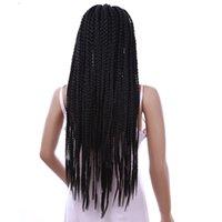 ingrosso trecce lunghe box-3X BOX Parrucche treccia Accessori per capelli per donne nere Parrucca treccia sintetica con trecce