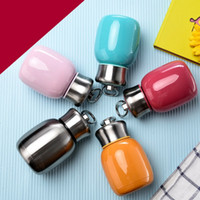 Wholesale hand ring girls - 5 Colors Stainless Steel Vacuum Heat Preservation Cup For Girl Student Water Bottle With Hand Ring Originality Big Belly Mug 24ke X