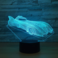 Wholesale r keyboard - Super Car GT-R 3D Optical Illusion Lamp Night Light DC 5V USB Powered AA Battery Wholesale Dropshipping Free Shipping