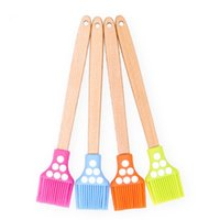 Wholesale wooden handles for tools - Silicone Kitchen Baking Tools With Wooden Handle Brush Colorful Multifunction Caking Brushes For BBQ Chocolate Practical 4 9ks2 XY