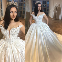 Wholesale gorgeous style - Gorgeous Sweetheart Wedding Dresses Appliques Beads Plunging Neckline Satin Plus Size Wedding Dress Count Train Country Style Bridal Gowns