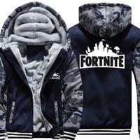 çocuklar polar kış giyim toptan satış-Erkek Giysileri Kış Süper Sıcak Hoodies Tişörtü Kalın Polar Genç Erkek Kamuflaj Ceketler Kadife Çocuk Mont 15-20 Y18102507