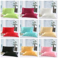 Wholesale color pillowcases for sale - Group buy Solid Color Silk PillowCases Double Face Envelope Design Pillow Case High Quality Charmeuse Silk Satin Pillow Cover GGA100