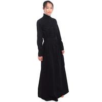 siyah beyaz önlükler toptan satış-İngiliz Vintage Hizmetkar Siyah Yürüyüş Elbise Beyaz Hizmetçi Önlük Kostüm Victoria Edward Temizlikçi Cosplay Hızlı Gönderi
