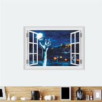 Wholesale 3d window art for wall for sale - Pumpkin Lantern Left Hand Wall Stickers Halloween Decoration d Fake Window Home Decals Festival Mural Art Posters Kids Gifthaif