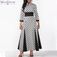 ingrosso abiti neri di polka dots-Misshow Plus Size 3/4 Sleeve Polka Dots Women Dress Nero Maxi vestito bianco fessura per le donne Robe Femme