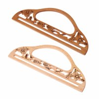 рама для мешков оптовых-THINKTHENDO High Quality Wood Handle Purse Frame Hollow Out Carve Patterns Bag DIY Handbag Accessories
