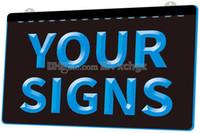 sinais conduzidos venda por atacado-[F002] Sua Placa de Sinais NOVO 3D Gravação LED Light Sign Customize on Demand 8 cores