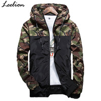 Wholesale Polyester Outerwear - LeeLion 2018 Autumn Camouflage Jackets Men Fashion Hooded Bomber Coat Slim Fit Male Windbreaker Casual Brand Clothing Outerwear
