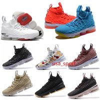 Wholesale Pink Green Floral Fabric - 2018 newest JaMes 15 Basketball Shoes Ashes Floral Ghosts Unveils sports high quality lbj15s white black red man Sneakers