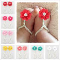 шифон браслеты оптовых-Модные детские девушки цветок кольцо для ног младенческой Жемчужина шифон босиком обувь малыш ноги браслет цветок пляж сандалии
