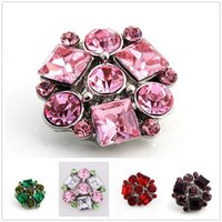 20pcs lot Beautiful Crystal snap Antique Silver Retro Alloy Ginger Snap Metal Charm 18mm snap Button fit Jewelry Bracelet Bangles Necklace