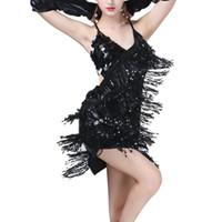 vestidos de baile de salón de flecos al por mayor-Sexy Halter Latin Dance Dress Mujer Salsa Ballroom Tango Cha Cha Vestido de baile Rumba Samba Costumes Sequin Fringe Female