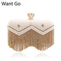 bride bag achat en gros de-Vous voulez aller à la mode des femmes perle perles soirée sac à main vente chaude mariée en cuir PU sac de soirée d'embrayage New Lady Diamond sacs de soirée