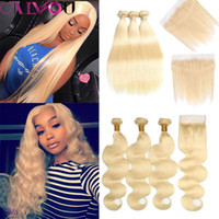 Wholesale blonde brazilian hair - OnlyouHair Brazilian Virgin Hair Blonde Bundles with Frontal Closure Straight Body Wave Human Hair Bundles with Closures Factory Deal