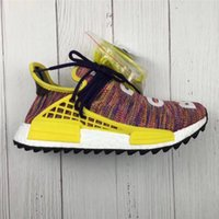 Wholesale Glow Inks - Originals Pharrell Williams Human Race NMD Hu Trail Noble Ink Rainbow Sun Glow Running Shoes 2018 Limited Release Real Boost Newest 36-48