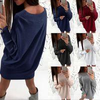 Wholesale 2t Sweater Dress - Women Long Sleeve Sweater Dress Ladies Off Shoulder Jumper Knitted Loose Mini Dress Shirt Tops Dress OOA3962