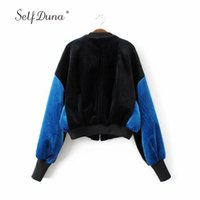Wholesale Ladies Velvet Short Jackets - Self Duna 2017 Autumn Women Velvet Bomber Jacket Short Vintage Loose Black Blue Winter Zipper Casual Ladies Baseball Jacket Coat