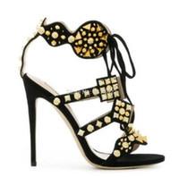 ingrosso pizzo in gabbia-2018 Summer Gladiator Multi-color-Spikes Sandali Caged Peep Toe Tacchi alti Patchwork Lace Up Stiletti Fashion Show Sandali