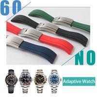 bracelete vermelho branco azul venda por atacado-Pulseira de borracha à prova d 'água de aço inoxidável fivela de relógio pulseira cinta para oysterflex pulseira relógio homem 20mm preto azul vermelho branco + ferramenta
