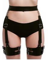 Wholesale leather strap body harness - UYEE 100% Handmade Sexy Pu Leather Harness Body Bondage Rave Leg Garters Waist Belt Punk Suspenders Strap For Bdsm Women LP-054