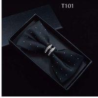 Tuxedo Metal Crystal Wedding Bow Tie Men Women Butterfly Knot Cravat Black Purple Blue Jujube Red Groom Party Banquet Meet Club