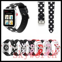Wholesale dotted bracelet for sale - Group buy For Apple Watch Strap Bands Genuine Real Leather Polka Dot Fashion Straps Band mm mm Bracelets With Adapter