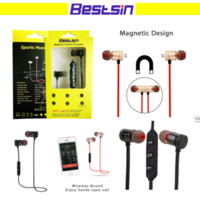 Wholesale iphone music bluetooth - Bestsin Wireless Bluetooth Headphones M9 Magnet Wireless Earphone Auriculares Bluetooth Headset For Cell phone Iphone X xiaomi Sport Music