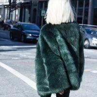 Wholesale dark blue women fur coat - Chic New Autumn Winter Womens Faux Fur Coats Jackets Black White Dark Green Pink Long Fur Coat Fluffy Cozy Overcoat Outerwear