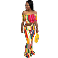 Wholesale sexy legs yoga pants online - 2 Piece Set Women Summer Sexy Printed Short Sleeve Bodycon Blouse Shirt Full Wide Leg Pants Suits Tracksuits Two Piece Outfits Female