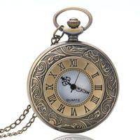 Wholesale jade pendant necklace men - Bronze Vintage Fashion Retro Bronze Quartz Pocket Watches Necklace Pendant with Chain Men Women Birthday Gift Relogio De Bolso