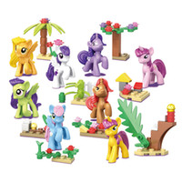 Hot selling Hot 8pcs lot Princess Series Building Blocks Model My Little Horse New Girl Friend Unicorn Figure Brick Toys For Children Birthday Gifts