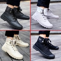 Wholesale comfortable safety boots - Comfortable Palladium Style Shoes For Women Men PU Leather Lace Up Flats Heels Waterproof Black Military Ankle Martin Brand Boots