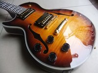 Wholesale left hand jazz guitars resale online - New Left Handed Custom Shop Small Jazz electric guitar with F hole In Sunburst
