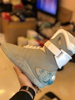 Wholesale mags shoes - Best Quality Air Mag Sneakers Marty McFly's LED Shoes Back To The Future Glow In The Dark Gray Boots McFlys Sneakers With Shoes Box