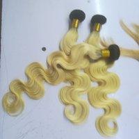 karanlık sarışın vücut dalga saç toptan satış-1B / 613 Ombre Renk Insan Saç Demetleri Vücut Dalga 3 Demetleri Sarışın Kökleri Karanlık Kökleri Ile