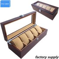ingrosso scatola in acrilico-Organizzatore di cassa in legno massello con regalo Mens Hour per 5 scanalature acrilico Finestra trasparente DisplayStorage Top Orologi di moda gioielli scatola WBG1003