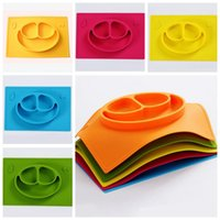 Wholesale baby food plates - Rectanfle Baby Silicone Bowls Food Grade Silicone Non slip anti throw tableware Cute Bowl for Baby One-piece Placemat Dish KKA3998
