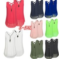 Wholesale women open shirts - V neck Zipper Chiffon Blouse Women Summer Sleeveless Loose Shirts Female Casual cross back tank Maternity Tops tees Solid Color Plus Size