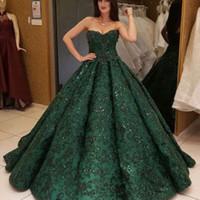 ingrosso vestito convenzionale di scintillio verde-Abiti da sera in pizzo verde Ball Gown Glitter arabo Sweetheart Paillettes abito da sera formale 2018 Dubai abiti da sera vestidos Prom Dress