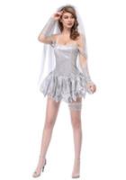ingrosso adulti vestiti sexy halloween-Costume da sposa per adulti donne cadavere halloween costume da sposa corto vestito sexy halter dress fantasia per le donne